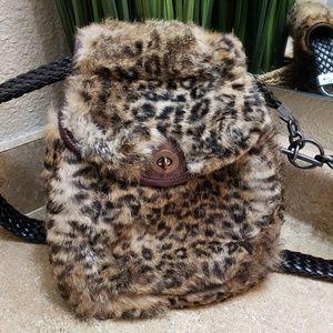 T.ba Animal Print Fur Crossbody Bag Purse
